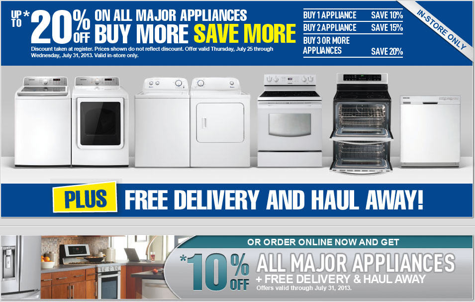 Lowe's Save up to 20 Off All Major Appliances + Free Delivery & Haul Away (Until July 31)