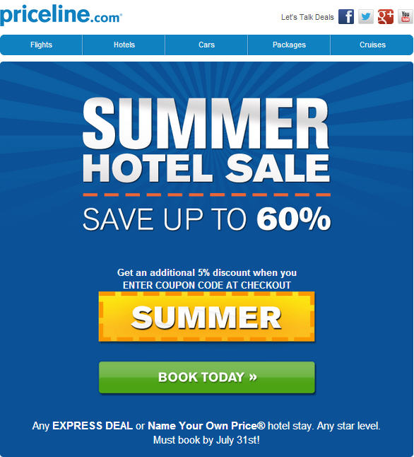 Priceline Summer Hotel Sale - Save up to 60 Off Extra 5 Off Promo Code