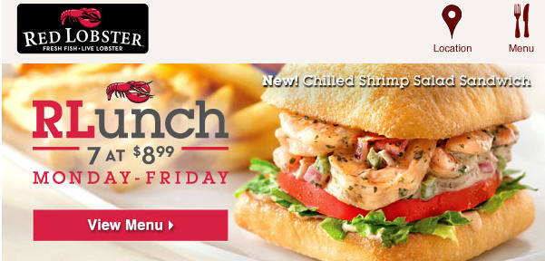 Reb Lobster 899 Lunch Specials $10 Off 2 Entrées Coupon