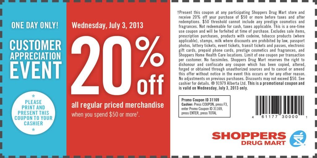 Shoppers Drug Mart 20 Off All Regular Priced Merchandise (July 3)