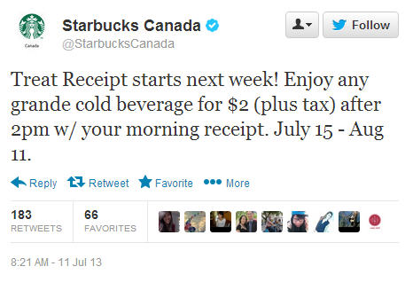 Starbucks Treat Receipt - Bring Back Morning Receipt, & get a Grande Cold Beverage for $2 (July 15 - Aug 11)