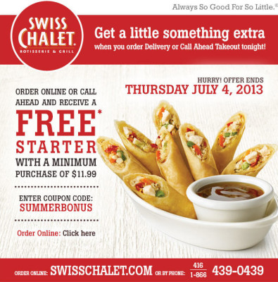 Swiss Chalet Free Appetizer with Delivery or Call Ahead Takeout (Until July 4)