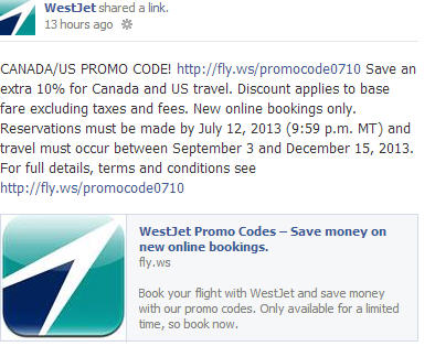 WestJet Extra 10 Off Flights within Canada and to US Promo Code (Book By July 12)