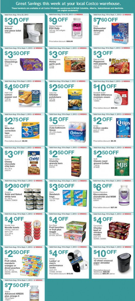 Costco Weekly Handout Instant Savings Coupons WEST (Aug 19 - Sept 1)