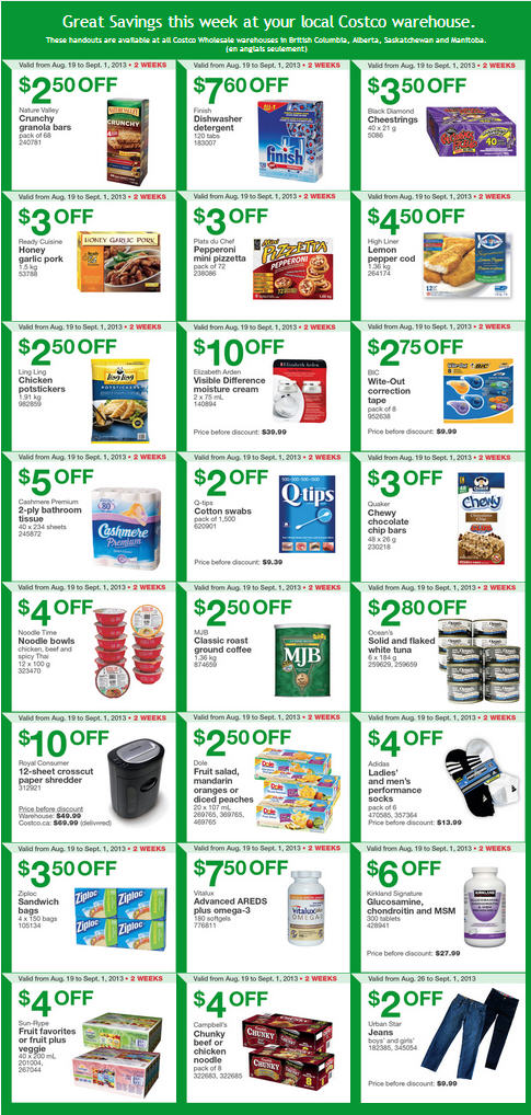 Costco Weekly Handout Instant Savings Coupons WEST (Aug 26 - Sept 1)