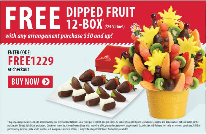 Edible Arrangements Free Dipped Fruit Box with any purchase over $50 (Until Aug 10)