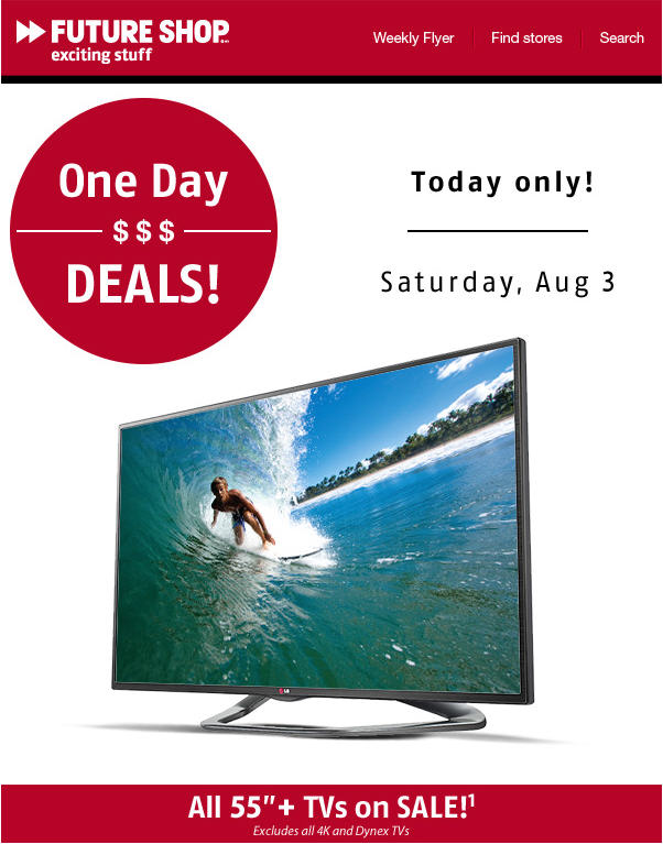 Future Shop All 55 TVs on Sale Today Only (Aug 3)