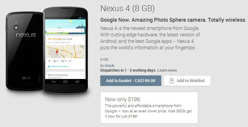 Google Price Drop - Nexus 4 (8GB) SmartPhone only $199 (Save $110)