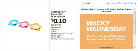 IKEA - Calgary Wacky Wednesday Deal of the Day (Aug 21) D