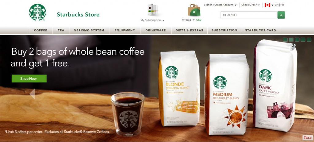 Starbucks Store Buy any 2 Bags of Whole Bean Coffee, Get 1 Bag Free (Until Aug 31)