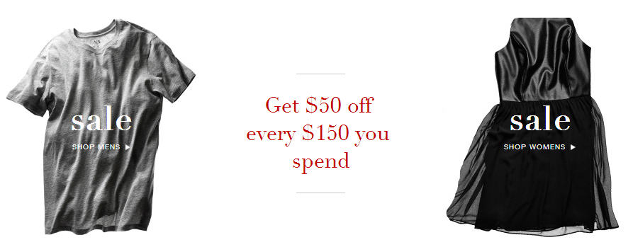 AX Armani Exchange Get $50 Off Every $150 You Spend
