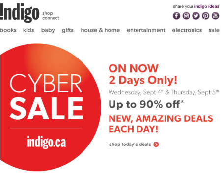 Chapters Indigo - Cyber Sale - Save up to 90 Off Site-Wide (Sept 4-5)