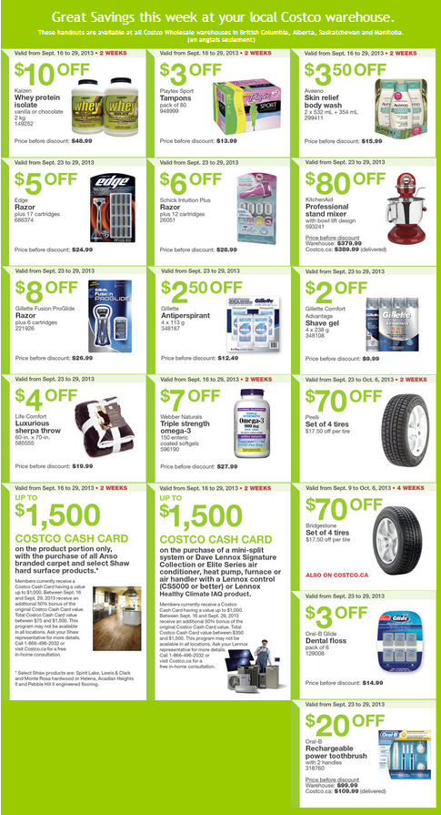 Costco Weekly Handout Instant Savings Coupons WEST (Sept 23-29)