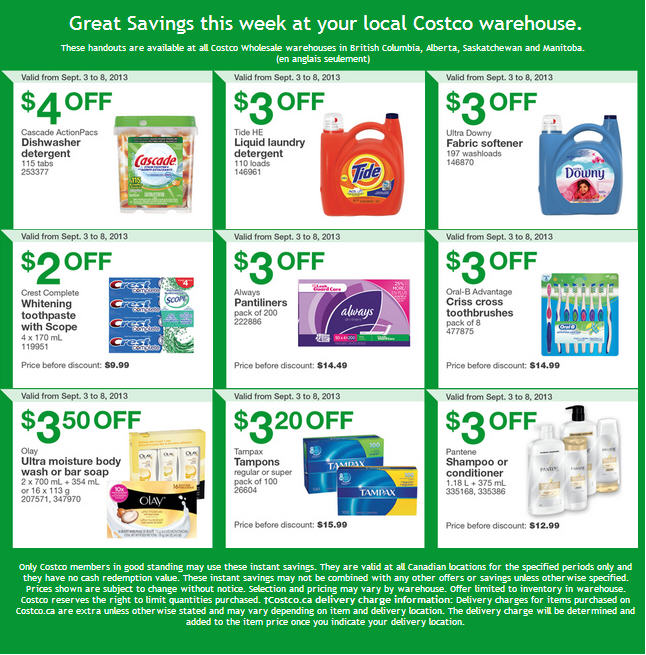 Costco Weekly Handout Instant Savings Coupons WEST (Sept 3-8)