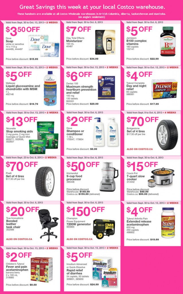 Costco Weekly Handout Instant Savings Coupons WEST (Sept 30 - Oct 6)
