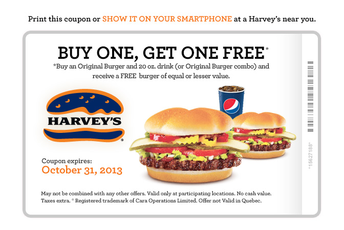 Harvey's Lots of Printable Coupons - BOGO, 2 Can Dine, Meal Deals (Until Oct 31)