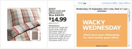 IKEA - Calgary Wacky Wednesday Deal of the Day (Sept 18) B