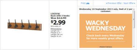 IKEA - Calgary Wacky Wednesday Deal of the Day (Sept 18) C