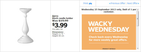 IKEA - Calgary Wacky Wednesday Deal of the Day (Sept 25) B