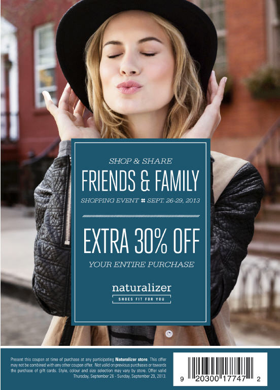 Naturalizer Friends & Family Event - 30 Off Your Entire Purchase (Sept 25-29)