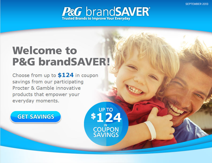P&G brandSAVER Choose from up to $124 in Coupons Savings
