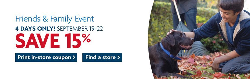 PetSmart Friends & Family - 15 Off All General Merchandise (Sept 19-22)