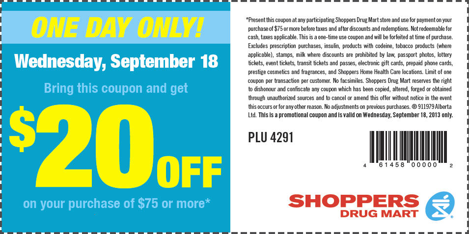 Shoppers Drug Mart $20 Off Coupon when you Spend $75 (Sept 18)