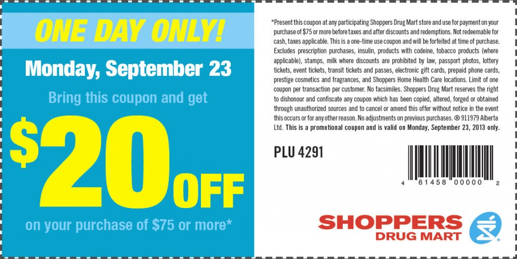 Shoppers Drug Mart $20 Off Coupon when you Spend $75 or more (Sept 23)