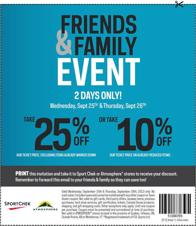 Sport Chek Friends & Family Event - 25 Off Regular Priced Items, 10 Off Sale Items (Sept 25-26)