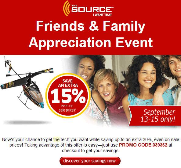 The Source Friends & Family Appreciation Event (Until Sept 15)