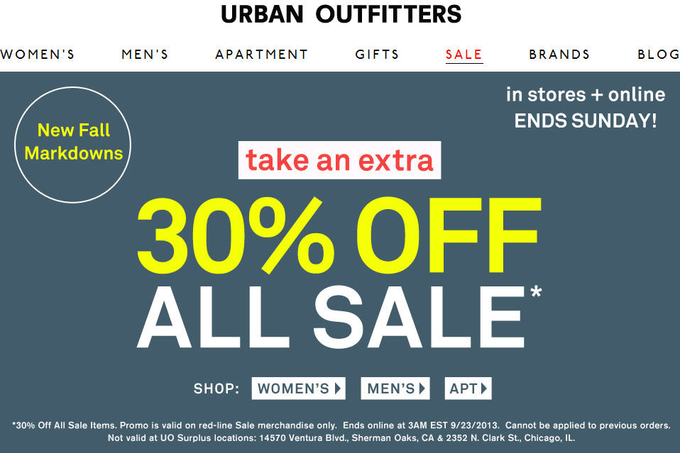 Urban Outfitters Extra 30 Off All Sale Items (Until Sept 22)