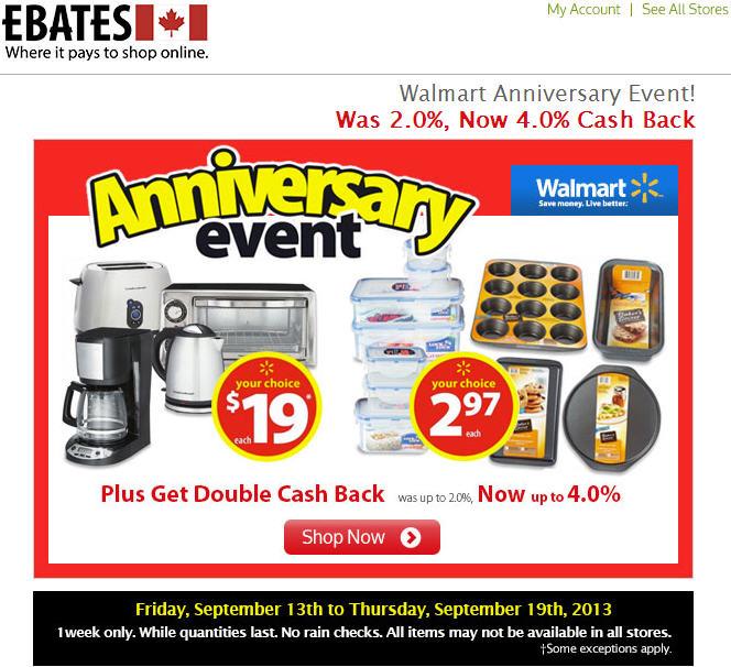 Walmart Anniversary Event + Get Double Cash Back on Ebates (Until Sept 19)