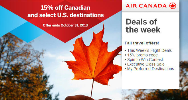 Air Canada 15 Off Flights within Canada and to select U.S. destinations (Book by Oct 31)