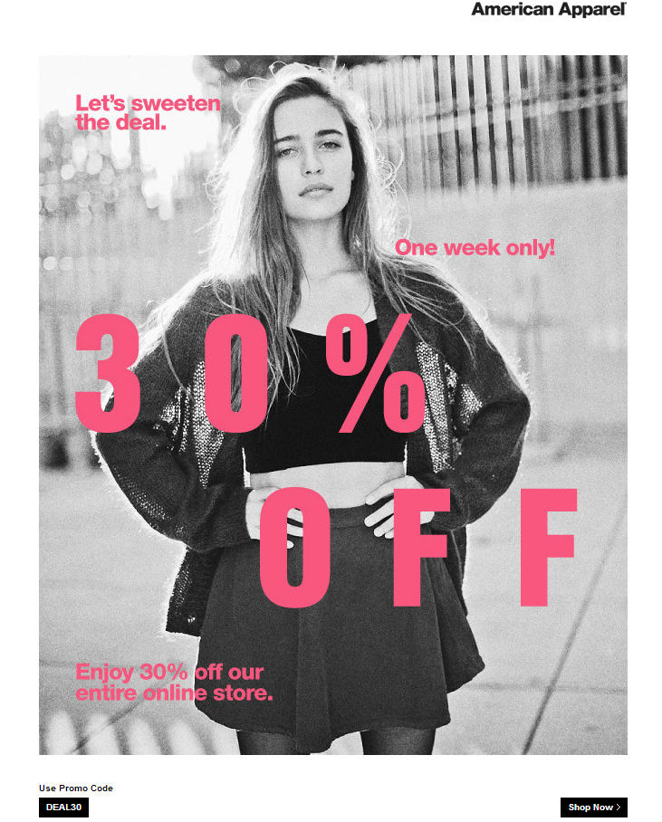 American Apparel 30 Off Entire Online Store Promo Code (Until Oct 9)