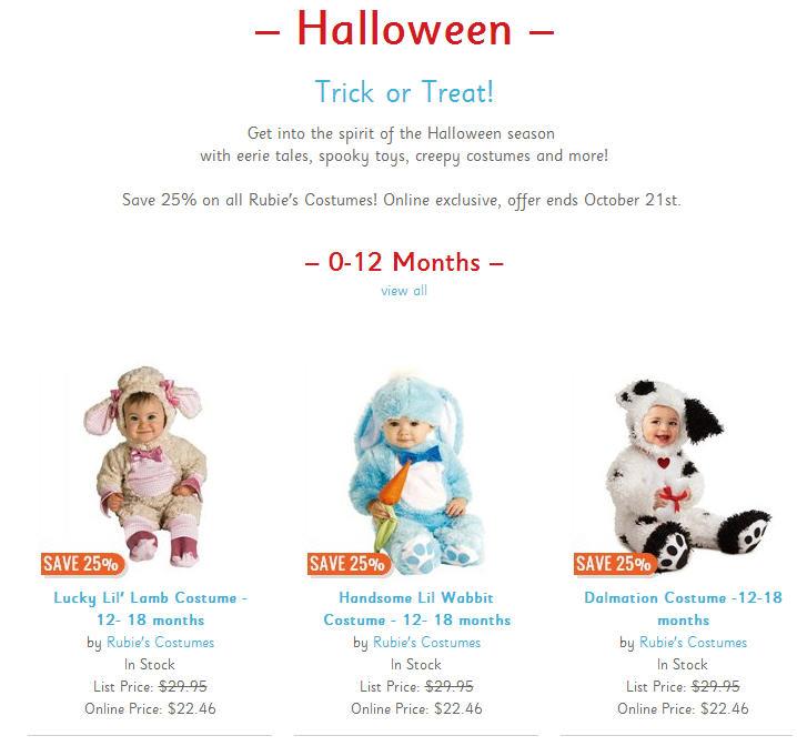 Chapters Indigo 25 Off Halloween Costumes (Until Oct 21)