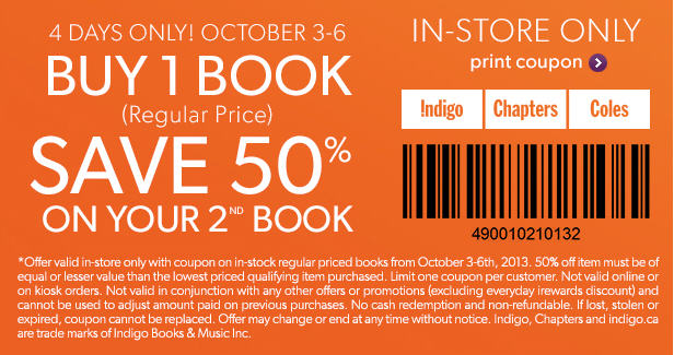 Chapters Indigo Buy 1 Book, Get 50 Off 2nd Book In-Store Coupon (Oct 3-6)