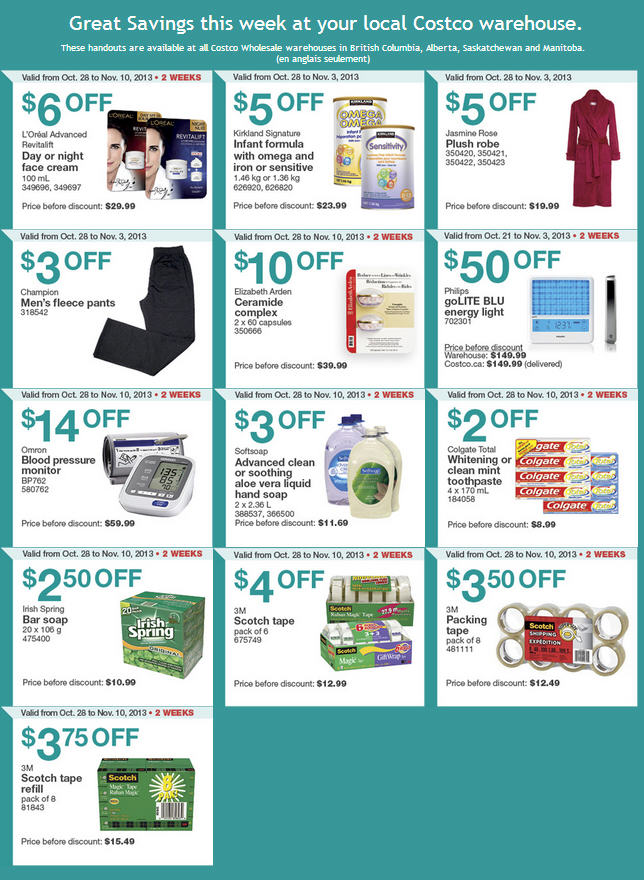 Costco Weekly Handout Instant Savings Coupons (Oct 28 - Nov 3)