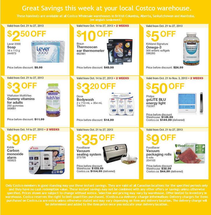 Costco - Weekly Handout Instant Savings Coupons WEST (Oct 21-27)