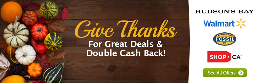 Ebates Celebrate Thanksgiving with Great Deals and Double Cash Back