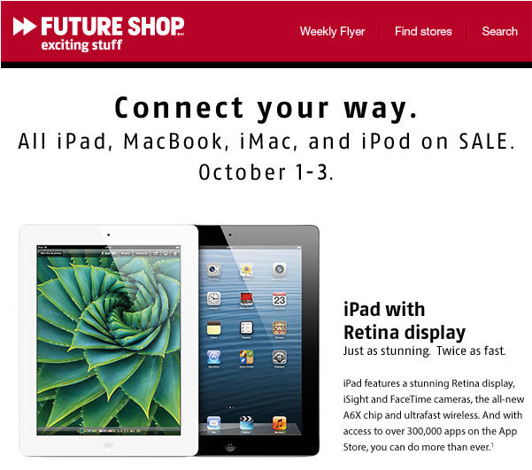 Future Shop All Apple iPads, MacBooks, iMacs and iPods on Sale (Oct 1-3)