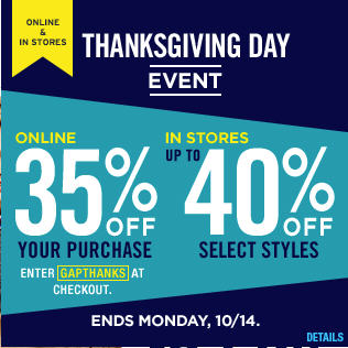 GAP Thanksgiving Day Event - 35 Off your Online Purchase (Oct 13-14)