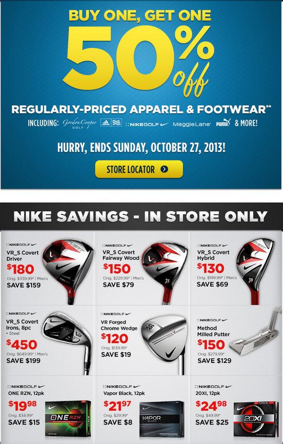 Golf Town Buy One, Get One 50 Off Apparel & Footwear + Nike Golf Sale (Until Oct 27)