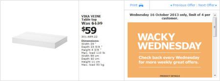 IKEA - Calgary Wacky Wednesday Deal of the Day (Oct 16) B