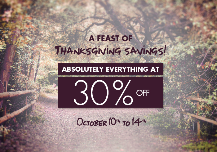 JACOB Thanksgiving Sale - 30 Absoutely Off Everything (Oct 10-14)