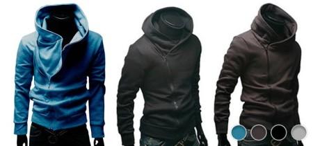 Men's Hoodie Jacket with Stylish Off-Center Zip