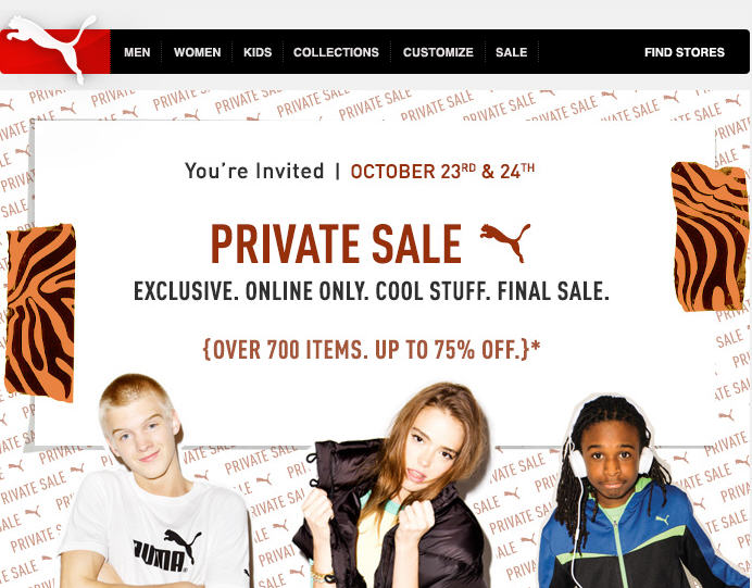PUMA Private Sale - Save up to 75 Off Online Only (Oct 23-24)