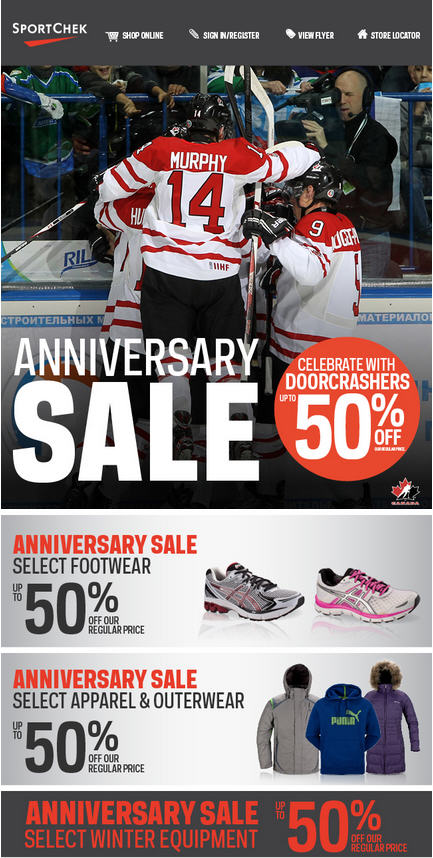 Sport Chek Anniversary Sale - Celebrate with Doorcrashers Up to 50 Off (Oct 23-25)