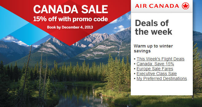 Air Canada Canada Seat Sale - 15 Off flights within Canada (Book By Dec 4)