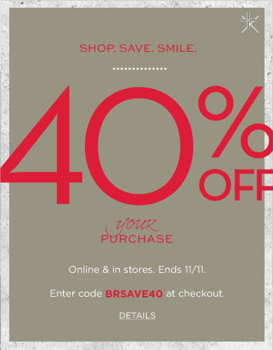 Banana Republic 40 Off Your Purchase In-Store and Online (Nov 11 Only)