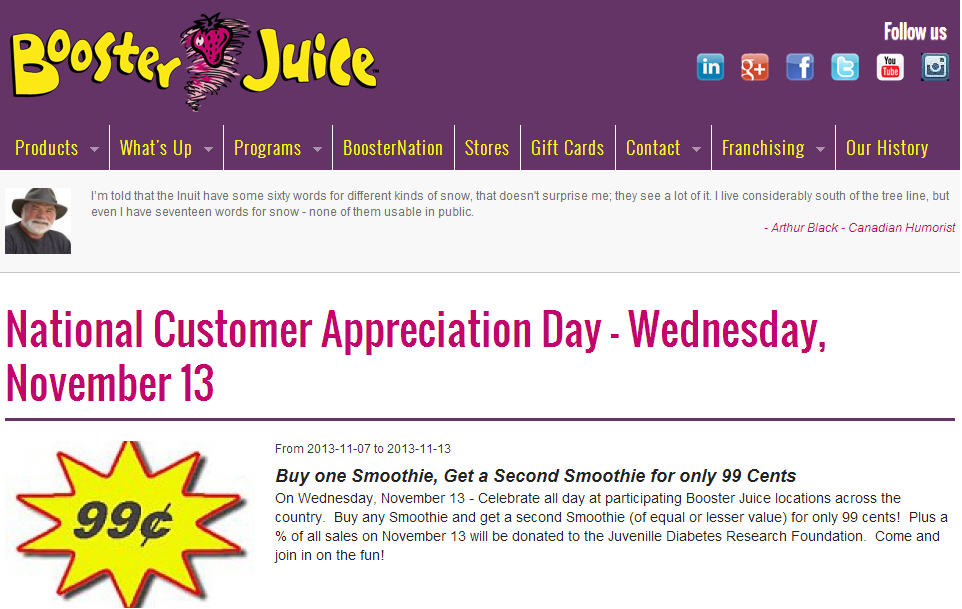 Booster Juice Customer Appreciation Day - Buy One Smoothie, Get a Second Smoothie for only 99 Cents (Nov 13)